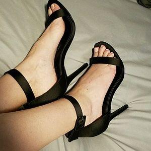 Black Strappy high heel ankle sandals